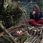 Woodland survival course building shelters, fire, collecting and purifing waterand firging for food along with trapping.