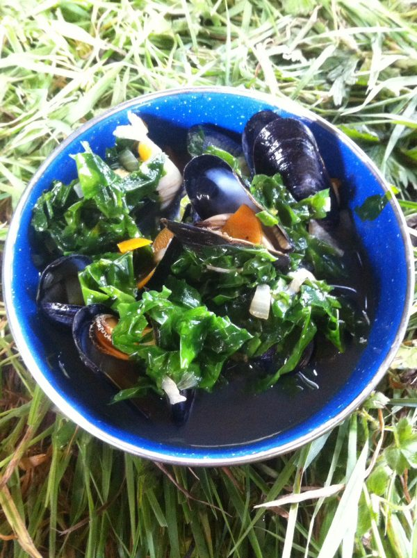 A meal made using shellfish and seaweed on a coatal ushcraft course