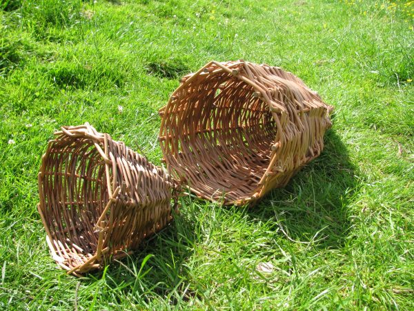 Willow fish trap made on a primitive skills bushcraft course.
