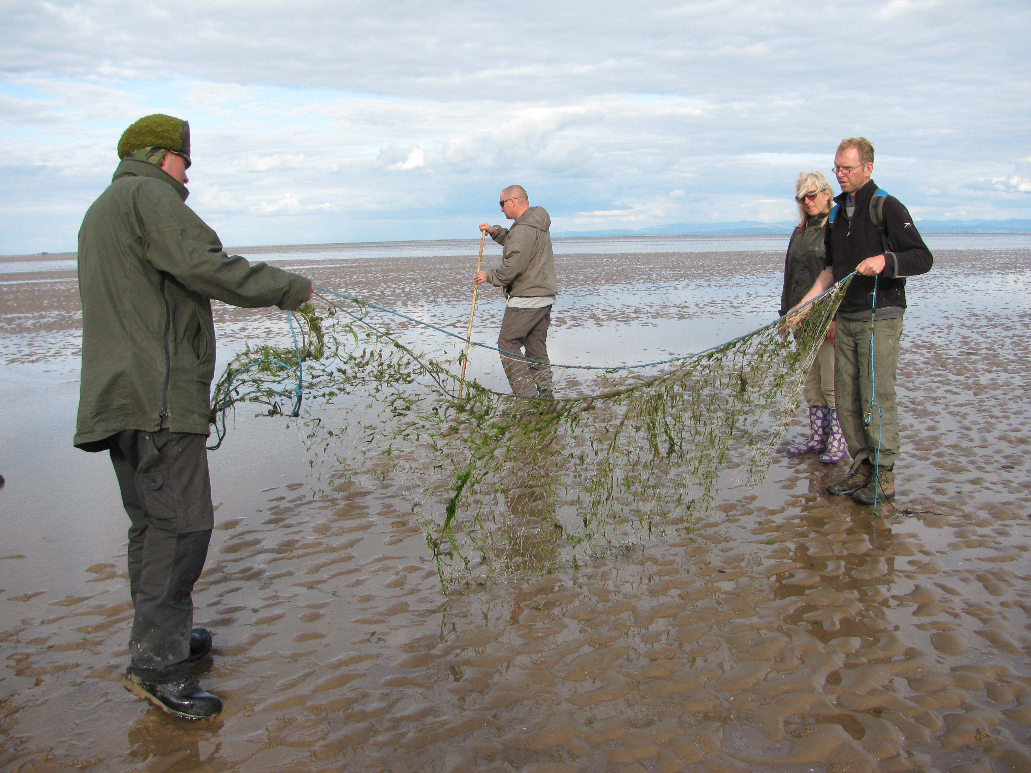 coastal hunter gatherers using a gill net on our bushcraft course in Scotland