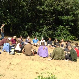 Bushmoot 2015 - Tuning in and reconnecting before a group plant foraging walk