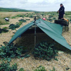 Complete coastal survivor. Survival course, coastal survival tarp set up