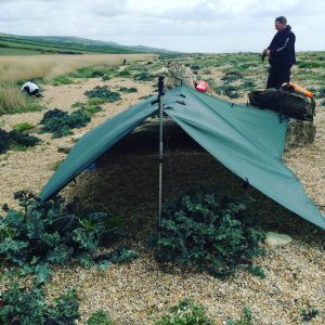 Survival course, coastal survival tarp set up